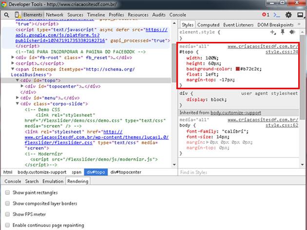 Como programar em CSS usando Google Chrome